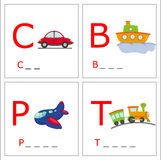 Learning to write 4. Illustrations of four type of transport with first letter. You have to complete with the right letters Stock Photo