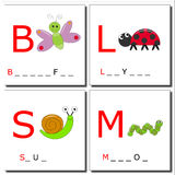 Learning to write bugs. Illustrations of four insects with first letter. You have to complete with the right letters Royalty Free Stock Photo
