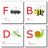 Learning to write bugs 2. Illustrations of four insects with first letter. You have to complete with the right letters Stock Photos