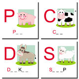 Learning to write farm animals. Four different colorful farm animals. Try to fill the empty space with the right letters. Eps available Stock Image