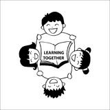 Learning together lettering with happy kids. vector illustration