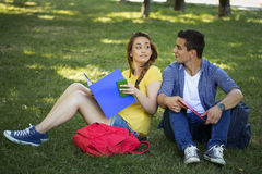 Learning together. Smiling students learning in the park Royalty Free Stock Images