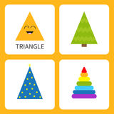 Learning triangle form shape. Smiling face. Cute cartoon character. Fir-tree Christmas tree magic magician hat , colorful pyramid Royalty Free Stock Photos