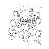 Learning under the sea. Octopus, taking notes on the clipboards under the sea. Bubbles, some fishes looking Royalty Free Stock Photography