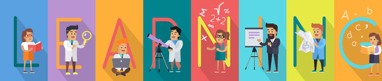 Learning Vector Concept in Flat Style Design Stock Images