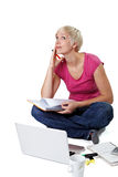 Learning woman with notebook Stock Photography