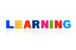 LEARNING written In Multicolored  Letters Stock Photos