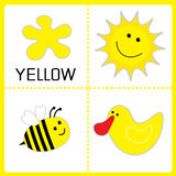 Learning yellow color. Sun, bee and duck. Educational cards  Stock Photos