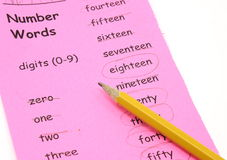 Learning your number words Stock Photos