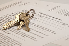 Lease agreement. A residential lease agreement with gold keys Stock Photo