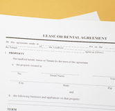 Lease agreement. Background photo of paper Lease agreement Royalty Free Stock Photography