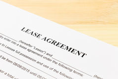 Lease Agreement Contract Document Left Angle View Stock Photography