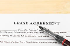 Lease Agreement Contract Document and Pen Horizontal View Royalty Free Stock Images