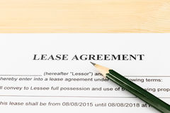 Lease Agreement Contract Document and Pencil Horizontal View Stock Image