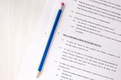 Lease agreement document with pencil Royalty Free Stock Image