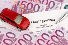 Lease agreement for new car stock image
