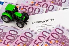 Lease agreement for new tractor Stock Images