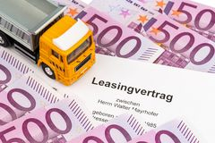 Lease agreement for the new trucks. A lease agreement for the new trucks. invest in new vehicles has cost advantages Stock Photo