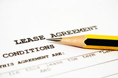 Lease agreemnet. Close up of lease agreement Stock Images