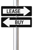 Lease or Buy. Conceptual one way street signs on leasing or buying options Stock Photography