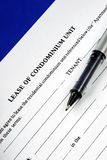Lease of condominium unit. Isolated on blue Royalty Free Stock Photography