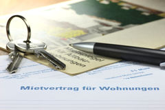 Lease contract. German lease contract with rent index on desktop Royalty Free Stock Image