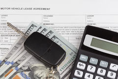 Lease Document Agreement with calculator Royalty Free Stock Photos