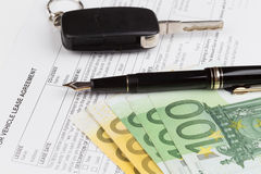 Lease Document Agreement with car key Royalty Free Stock Photo