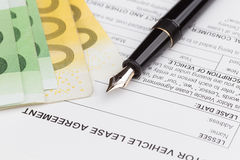 Lease Document Agreement with fountain Pen Stock Photo