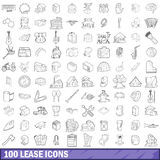 100 lease icons set, outline style. 100 lease icons set in outline style for any design vector illustration stock illustration