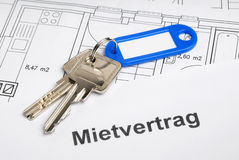 Lease and keys. On blueprints Stock Photography