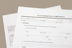 Lease or rental agreement. Close - up Lease or rental agreement form Stock Photos