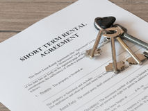 Lease or Rental agreement form. Close - up of Lease or Rental agreement form Stock Photography