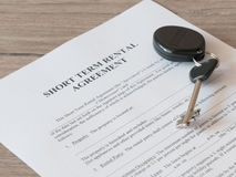 Lease or Rental agreement form. Close - up of Lease or Rental agreement form Royalty Free Stock Photos