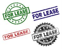 Grunge Textured FOR LEASE Seal Stamps. FOR LEASE seal prints with distress style. Black, green,red,blue vector rubber prints of FOR LEASE tag with dust style stock illustration