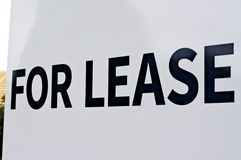 For lease sign, black on white, capital letters. Stock Image