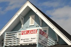For lease sign on the porch area of a house Royalty Free Stock Photography