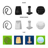 Leash, feed and other zoo store products.Pet shop set collection icons in black, flat, monochrome style vector symbol. Stock illustration Royalty Free Stock Photo