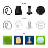 Leash, feed and other zoo store products.Pet shop set collection icons in black,flat,outline style vector symbol stock. Illustration Royalty Free Stock Image
