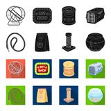 Leash, feed and other zoo store products.Pet shop set collection icons in black,flet style vector symbol stock. Illustration Royalty Free Stock Photo