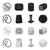 Leash, feed and other zoo store products.Pet shop set collection icons in black,monochrome style vector symbol stock. Illustration Stock Images