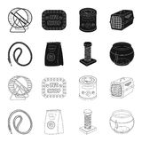 Leash, feed and other zoo store products.Pet shop set collection icons in black,outline style vector symbol stock. Illustration Stock Photography