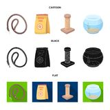 Leash, feed and other zoo store products.Pet shop set collection icons in cartoon,black,flat style vector symbol stock. Illustration Stock Photography