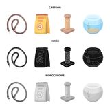 Leash, feed and other zoo store products.Pet shop set collection icons in cartoon,black,monochrome style vector symbol. Stock illustration Stock Image