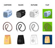 Leash, feed and other zoo store products.Pet shop set collection icons in cartoon,black,outline,flat style vector symbol. Stock illustration Stock Images