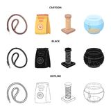 Leash, feed and other zoo store products.Pet shop set collection icons in cartoon,black,outline style vector symbol. Stock illustration Royalty Free Stock Photos