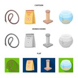 Leash, feed and other zoo store products.Pet shop set collection icons in cartoon,flat,monochrome style vector symbol. Stock illustration Stock Photos