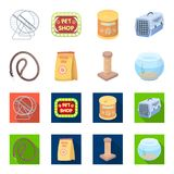 Leash, feed and other zoo store products.Pet shop set collection icons in cartoon,flat style vector symbol stock. Illustration Stock Photography