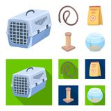 Leash, feed and other zoo store products.Pet shop set collection icons in cartoon,flat style vector symbol stock. Illustration Royalty Free Stock Photos