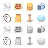Leash, feed and other zoo store products.Pet shop set collection icons in cartoon,monochrome style vector symbol stock. Illustration Royalty Free Stock Image
